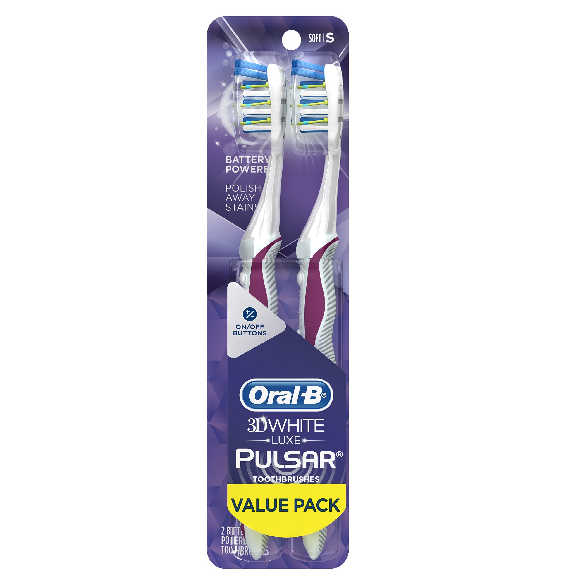 Oral-B Pulsar 3D White Luxe Battery Powered Toothbrush, Soft, 2 Count