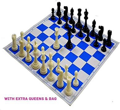 Wigano 17X17 Blue Roll-Up Vinyl Tournament Chess Set with Two extra Queens