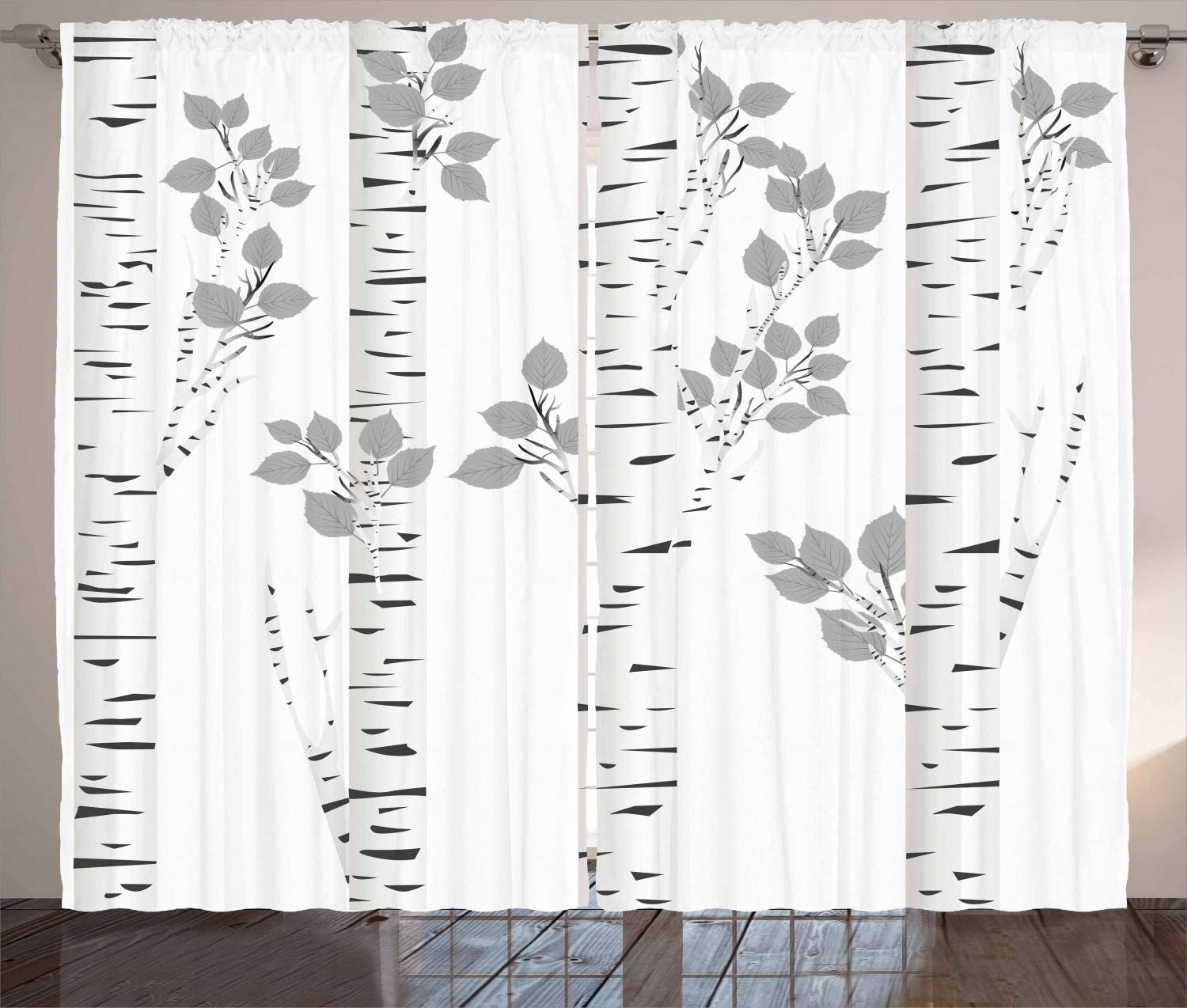 "Ambesonne Birch Tree Curtains, White Branches with Leaves Autumn Nature Forest Inspired Image Print, Living Room Bedroom Window Drapes 2 Panel Set, 108"" X 96"", White Grey"