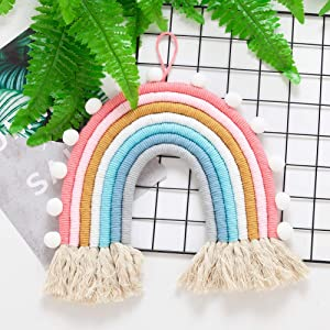 Rainbow Wall Decor Macrame Wall Hanging Girl Room Boho Small Tapestry Kids Nursery Decoration, Woven Decorative Rainbow with Tassel, Soft Cotton Rope Cute Wall Art Backdrop Chic Newborn Birthday Gift