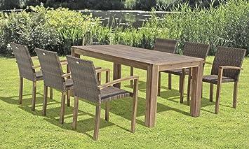 Garten Holz Tisch 180x90 Akazie Esstisch Terrasse Möbel Gartentisch