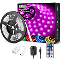 LE LED Strip Lights Kit, 16.4ft RGB LED Light Strips, Color Changing Light Strip with Remote Control, 12V Power Supply…