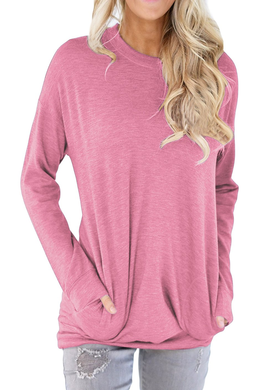 Shawhuwa Womens Long Sleeve Sweatshirt Loose T-Shirt Blouses Tops XL Pink