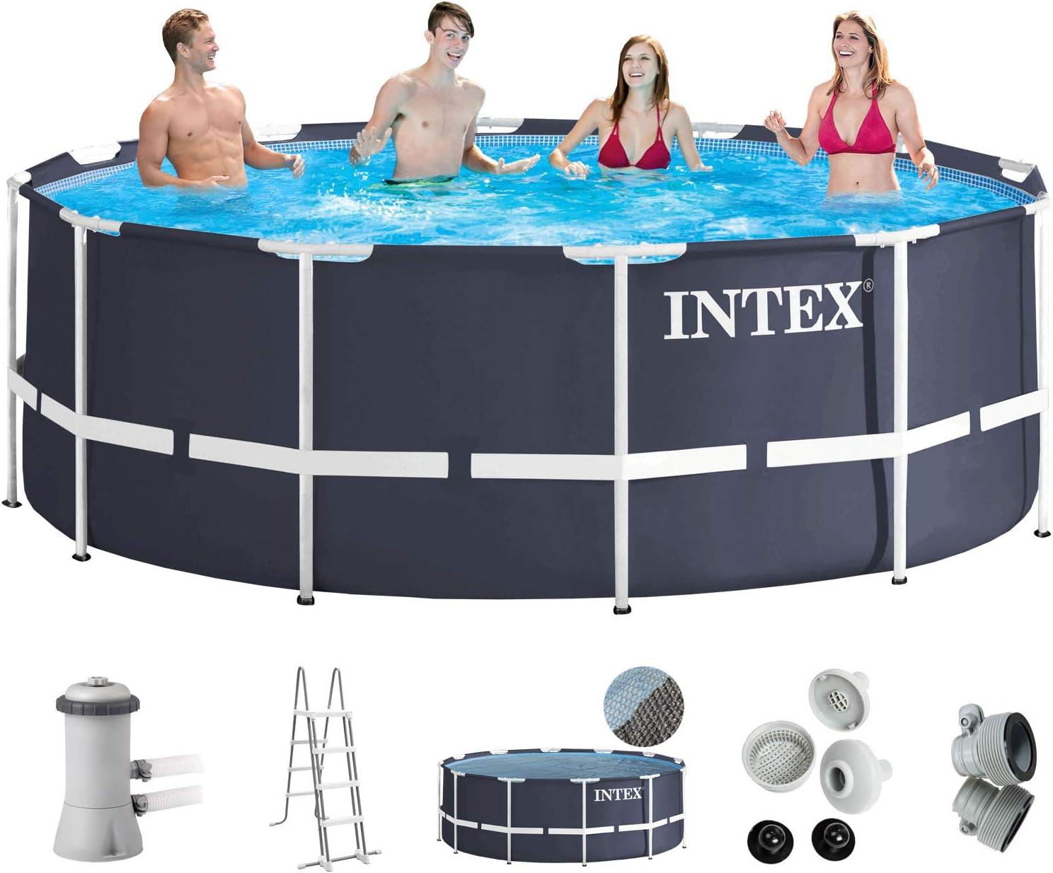 Intex 366 x 122 Juego completo con Intex cartucho Eco 28638 GS, filtros Intex Seguridad Escalera, Intex anschlus Set, Solar pantalla swimming pool Piscina Frame metal acero pared: Amazon.es: Jardín