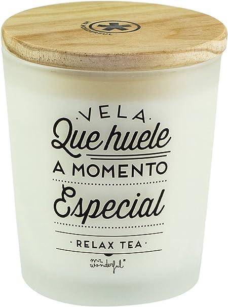 Mr. Wonderful Vela Que huele a Momento Especial Relax Tea, Cristal, Blanco, 8.00x9.00x8.00 cm: Amazon.es: Hogar