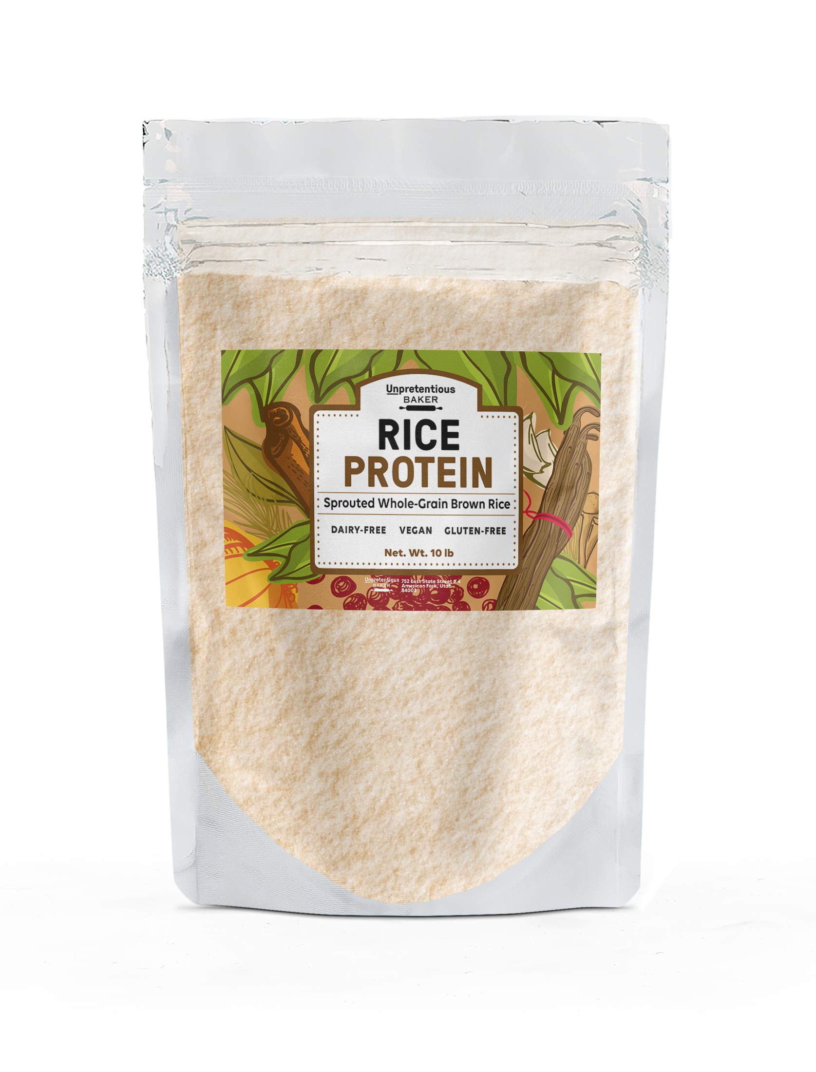 Rice Protein Powder, 10 lbs. by Unpretentious Baker, Sustainably Sourced, Vegan & Gluten-Free Alternative to Whey or Soy Protein to Assist with Post-Training Recovery, Eco-Friendly Packaging