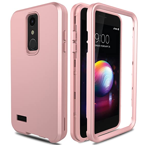 AMENQ LG K30 Case, LG Premier Pro Case L413DL, LG Phoenix Plus/Xpression  Plus Case, 3 in 1 Heavy Duty Protection Shockproof Silicone Rubber Shell