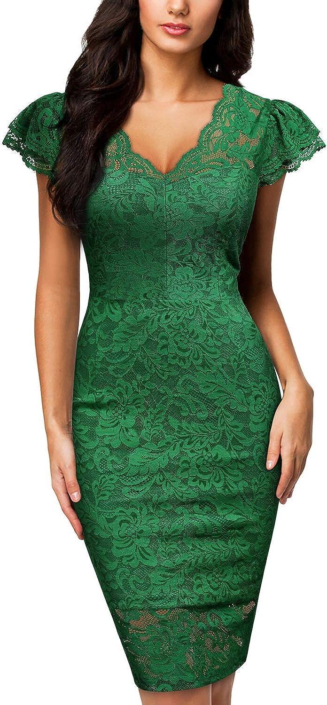 Miusol Women's Deep-V Neck Retro Lace Slim Style Party Mini Dress