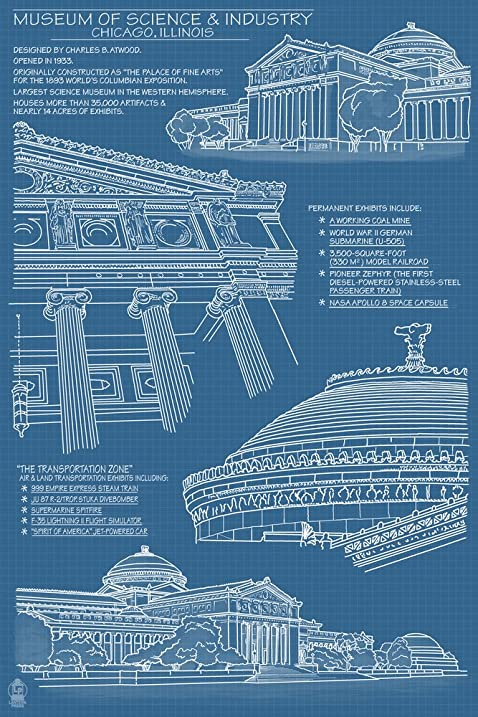 Amazon museum of science and industry blueprint chicago il museum of science and industry blueprint chicago il 12x18 art print wall malvernweather Choice Image