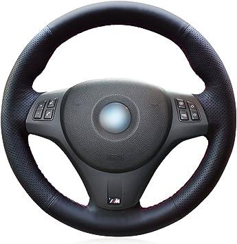 MEWANT Customized Black Genuine Leather Car Steering Wheel Cover for BMW E90 325i 330i 335i E87 120i 130i 120d