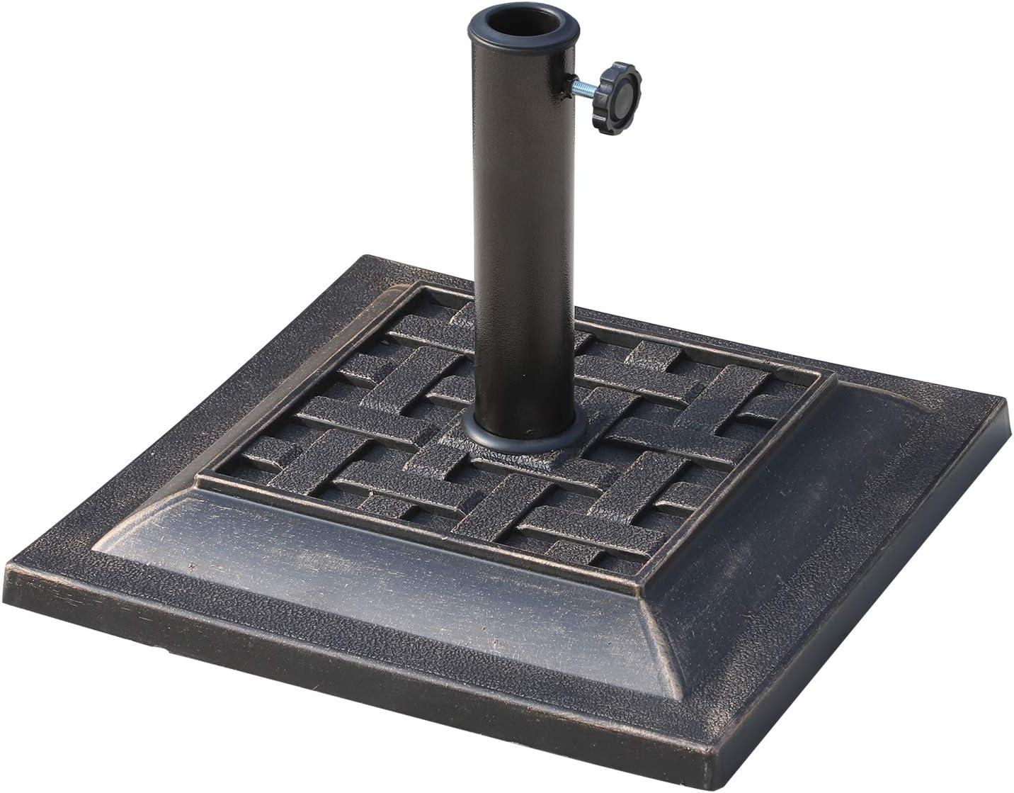 Outsunny Base de Sombrilla 44x44x33cm Tipo Soporte de Pie para Parasol Soporte de Sombrilla Resina Apto para Mástil de 38/48 mm para Patio Jardín Color Bronce
