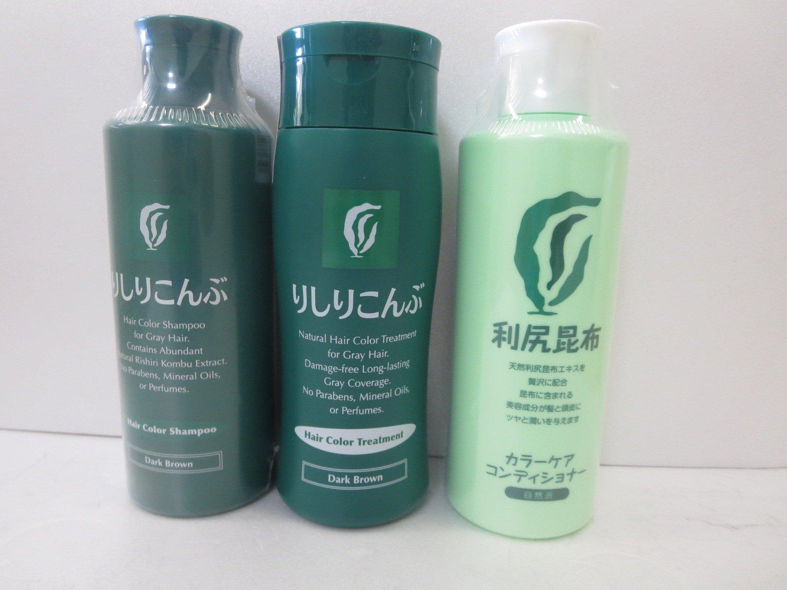 Rishiri Hair Color Set n Color Shampoo Dark Brown 6.7fl Oz + Hair Color Treatment Dark Brown 6.7fl + Color Care Conditioner 6.7fl Oz by Rishiri