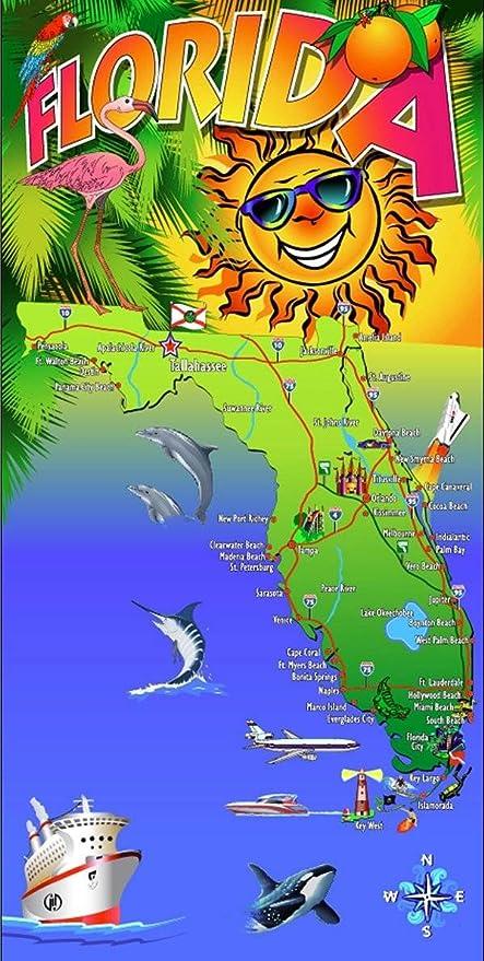 Map Of Florida Vacation Spots.Amazon Com Florida Travel Map Souvenir Style Cotton Velour Beach