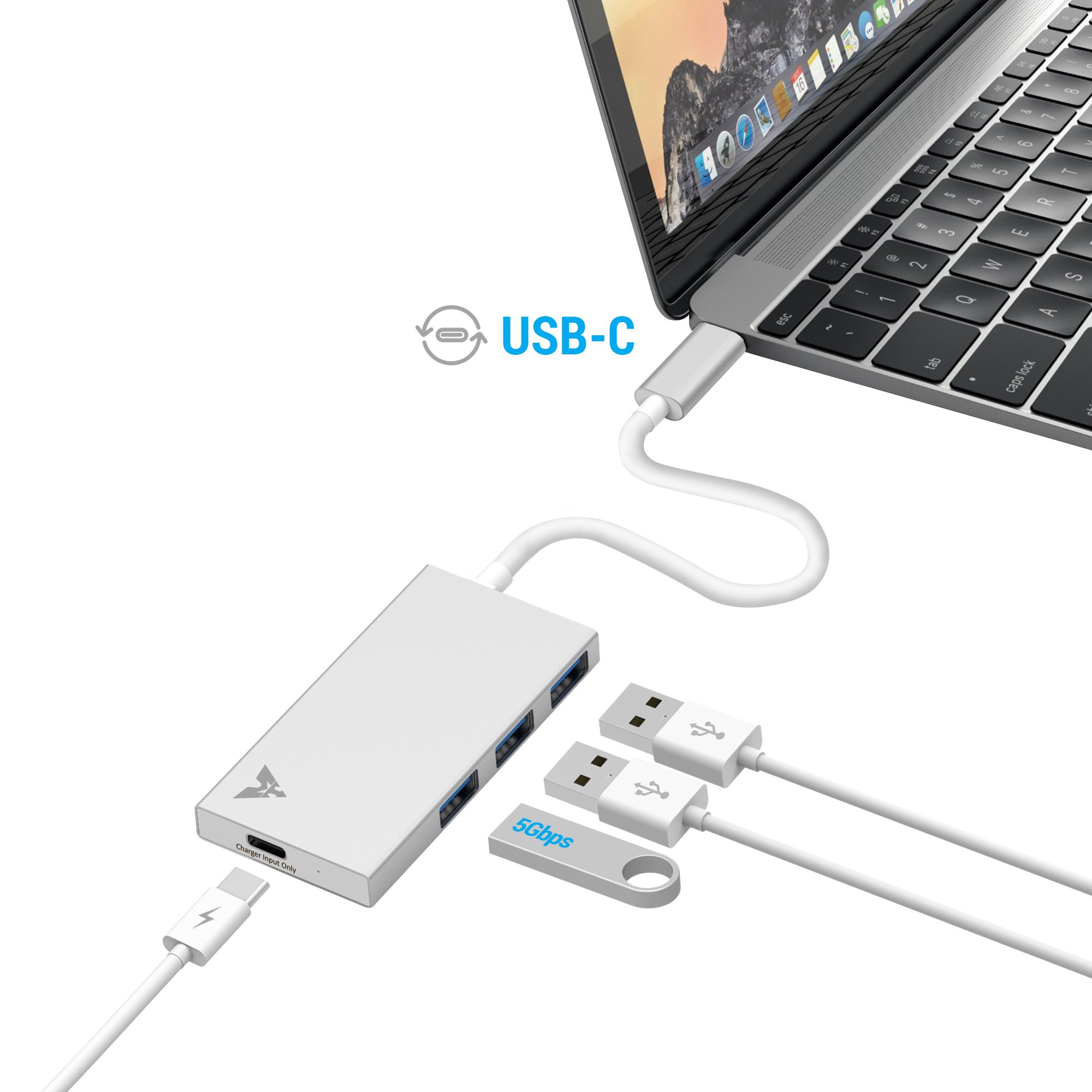 MAKETECH Ultra Slim Aluminum USB Type-C HUB with 3 USB 3.0 Data Ports and 1 USB-C Passthrough Charging Port for New Macbook Pro 2016, New Macbook 2015/2016, Chromebook Pixel and More Type-C Devices