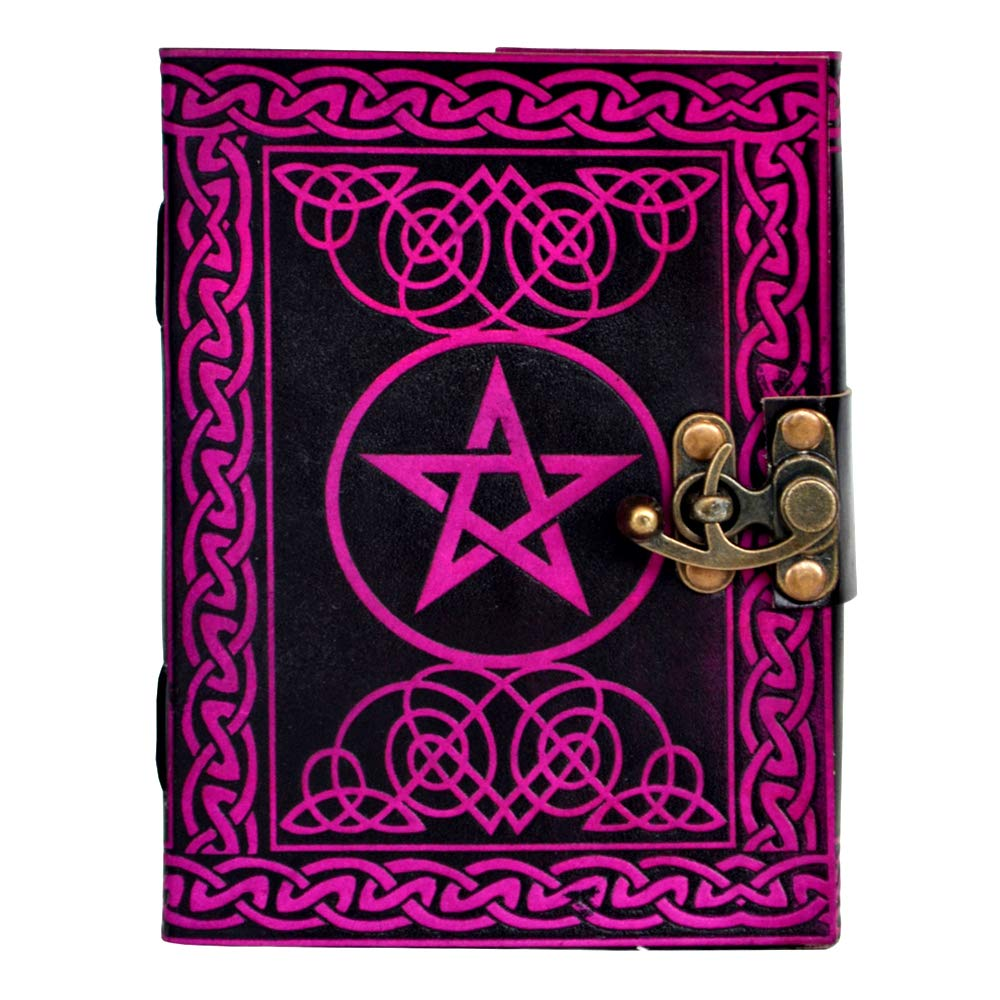 Natural Handicraft Handmade Leather Journal Pentagram Embossed Pentacle Wicca Pagan Notebook Book of Shadows Personal Organizer Daily Planner Office Supplies 5 x 7 Inches