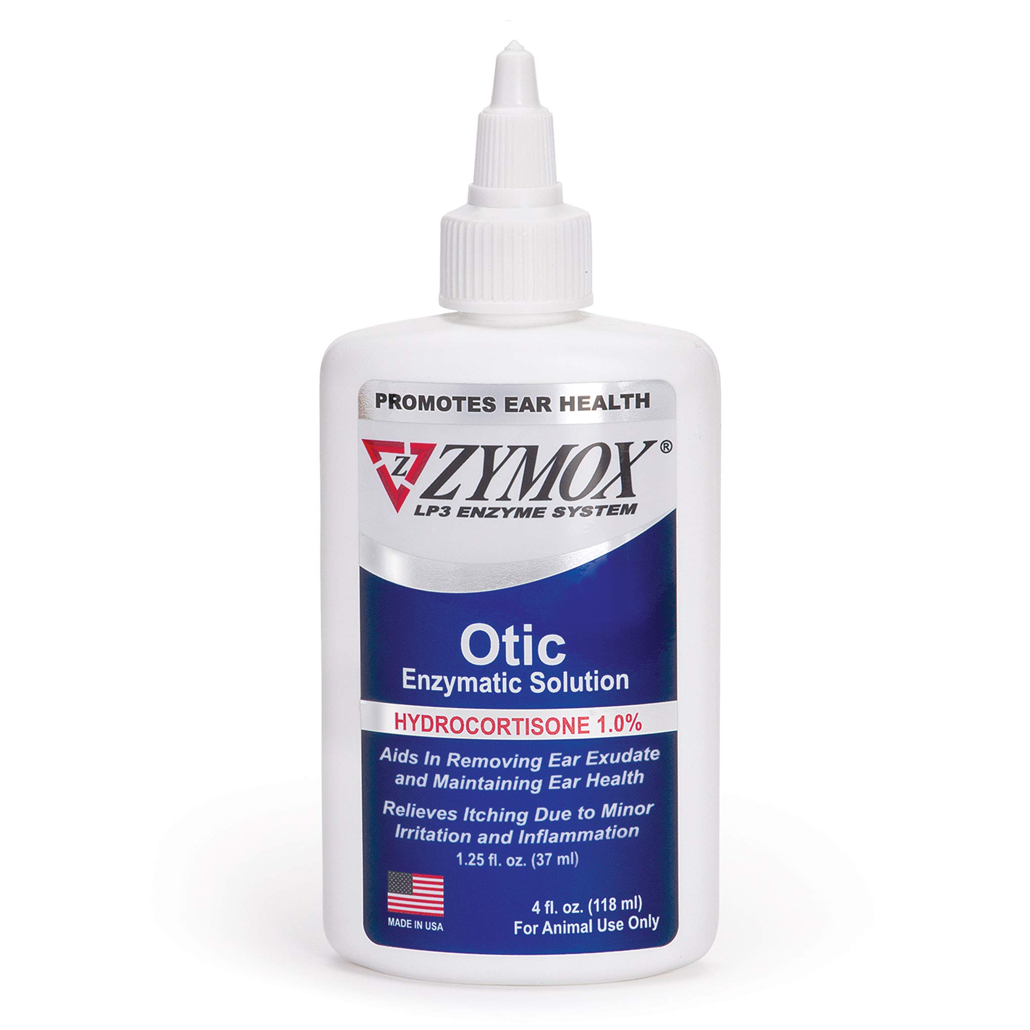 Zymox Otic Enzymatic Solution for Dogs and Cats to Soothe Ear Infections with 1% Hydrocortisone for Itch Relief, 4oz