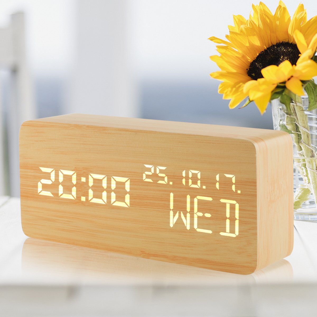 Reloj digital reloj despertador LED de madera con niveles Brillo ajustable grupos