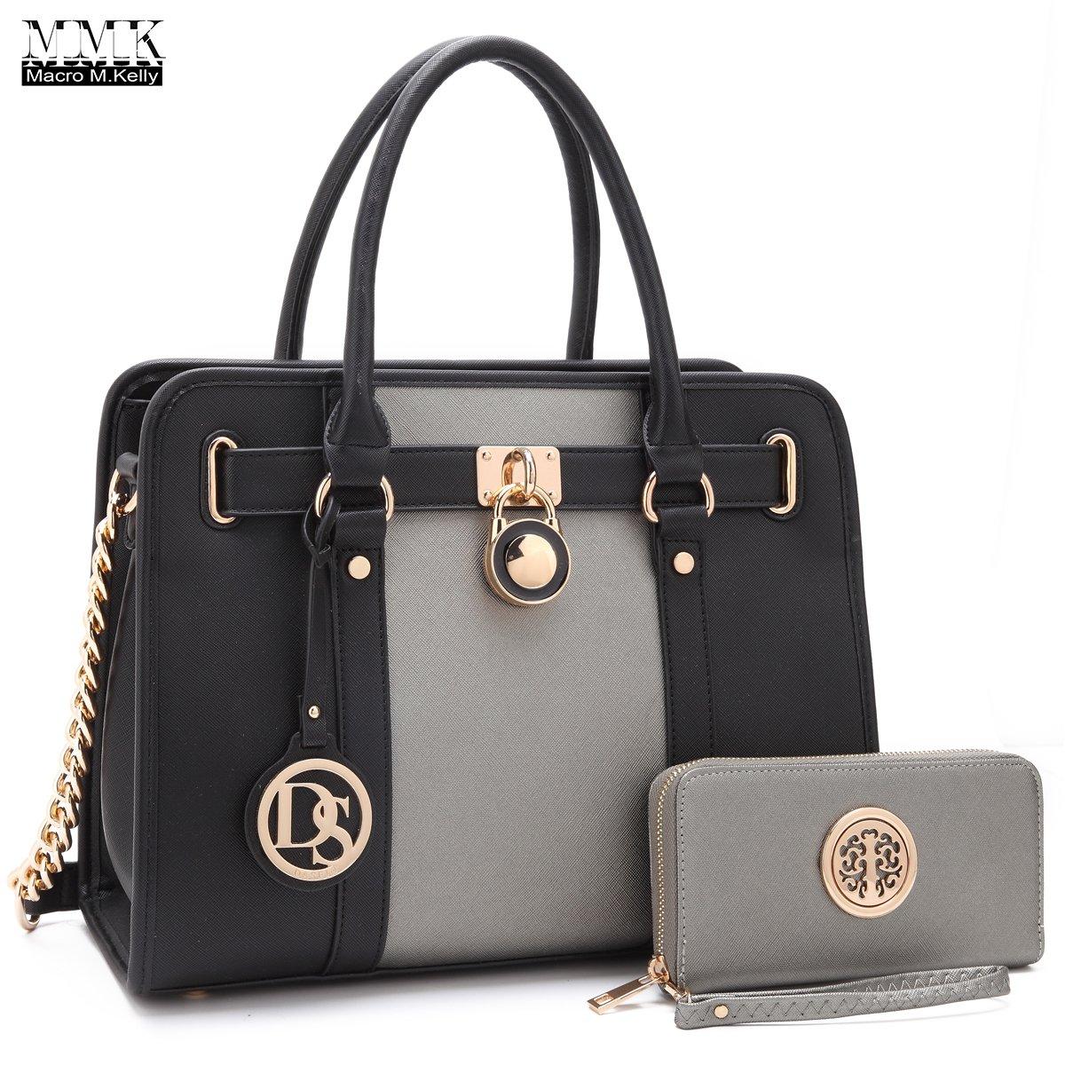 MMK collection Fashion Handbag with coin purse(XL-11) Classic Women Purse Handbag for Women` Signature fashion Designer Purse ~ Perfect Women Satchel Purse (XL-02-7103W-PT/BK)