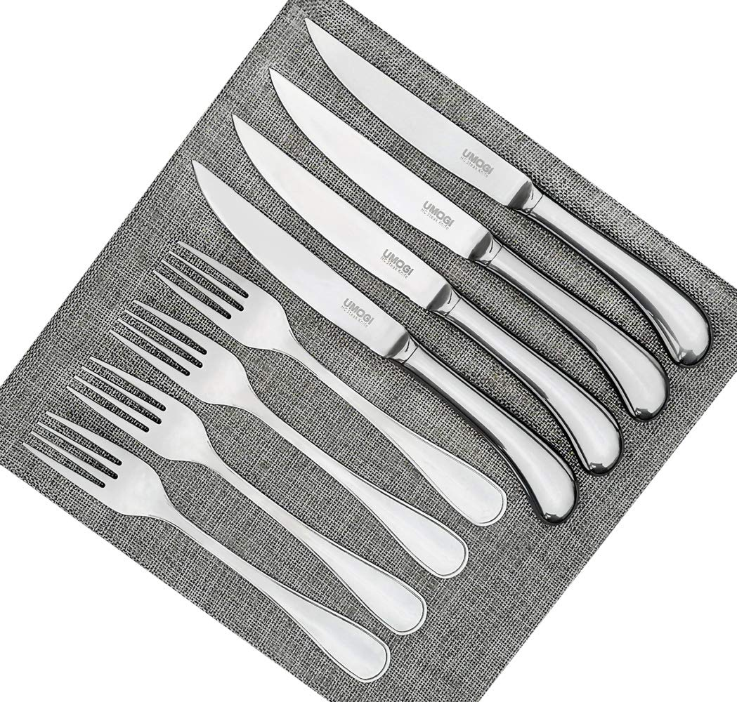 Steak Knives and Forks Set of 4-8 Piece, Premium Stainless Steel, Polished Shiny Blade & Handle Dishwasher Safe - Straight Edge Non Serrated - Tableware Knives Cutlery Set,Dinner Fork & knife UMOGI by UMOGI