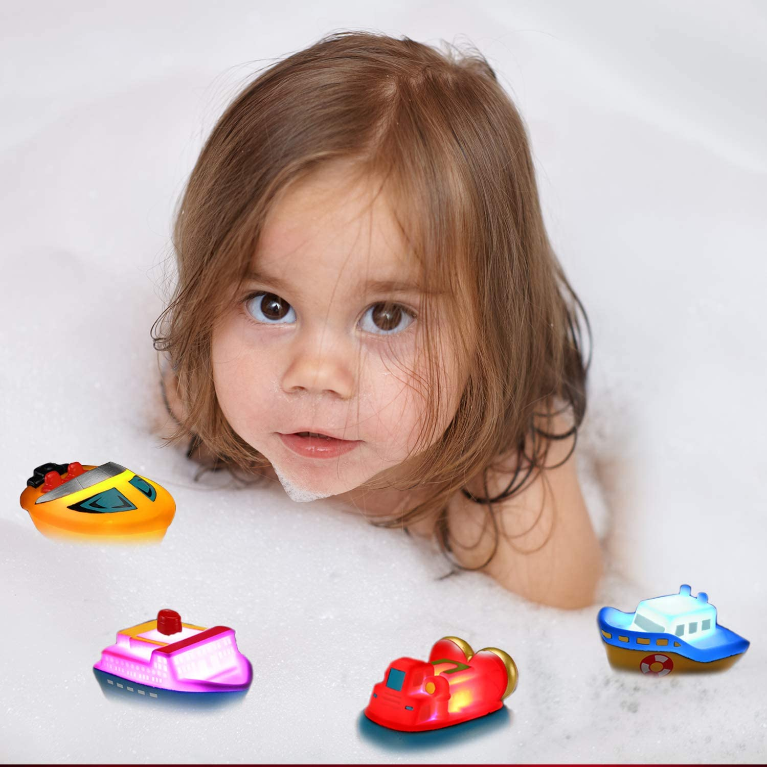 Bath Toys Flashing Color Changing Light in Water Tub Gift for Baby Infant Toddler Child Kid 6 Packs Light up Boat Floating Rubber Set Bathtub Ship Toy for Bathroom Shower Game Swimming Pool Party