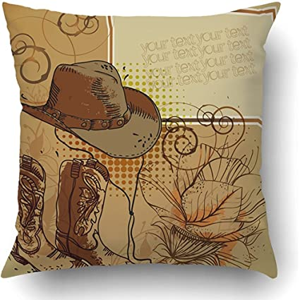 890a5dca9914d5 Throw Pillow Covers Western Hand Drawn Cowboy Hat Boots Flowers Rodeo  Country Rope Lasso Barn Straw