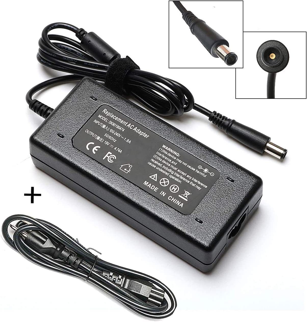 90W AC Adapter Laptop Charger Compatible for HP Probook 4530s 4540s 4330s 4430s 4440s 6550b 6460b 6560b 6470b 6570b HP Compaq 6530b 6730b 6910p nx9030 Laptop Notebook PC Power Supply Cord Plug