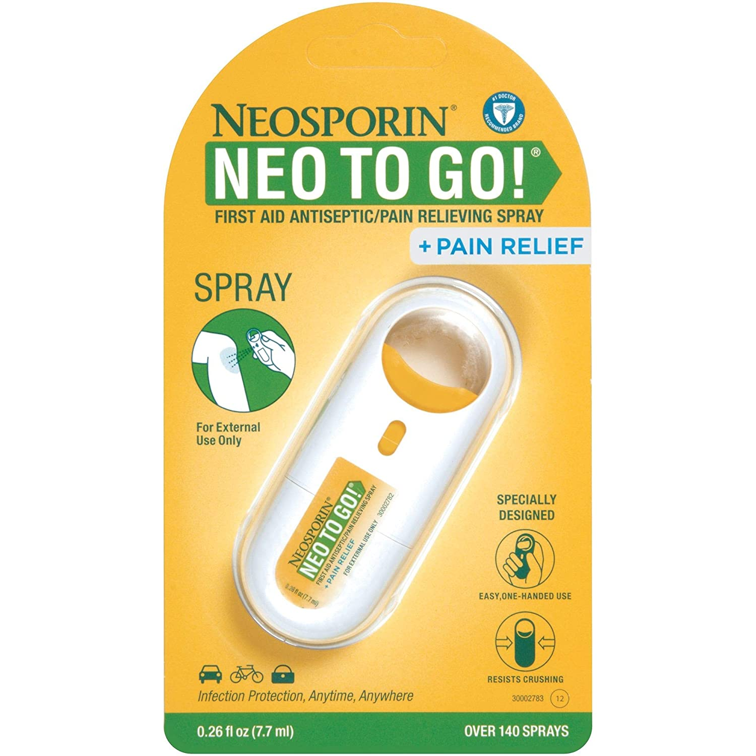 Neosporin + Pain Relief Neo to Go! First Aid Antiseptic/Pain Relieving  Spray 26 Oz
