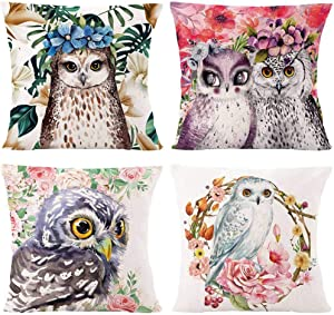 AOKDEER Patio Decorative Throw Pillow Covers Adorable Watercolor Flower Owl Pillow Case Double Sided Print Cushion Cover for Sofa Farmhouse Decor 18x18 Inch, Set of 4