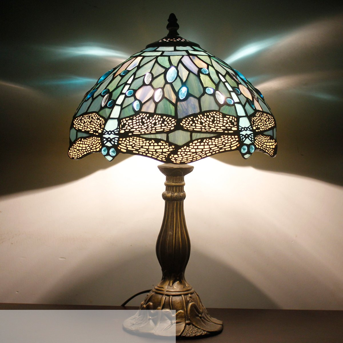Tiffany Lamp With Sea Blue Stained Glass and Crystal Bead Dragonfly Table Lamp In Height 18 Inch For Living Room by WERFACTORY (Image #2)