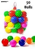 EevOveE ™ 50pcs Color Balls ( No Sharp Edges & Premium Quality Balls) for Kids / Pool Balls Premium Quality Set of 50 Balls - 8 cm Diameter Similar Size of Cricket Ball