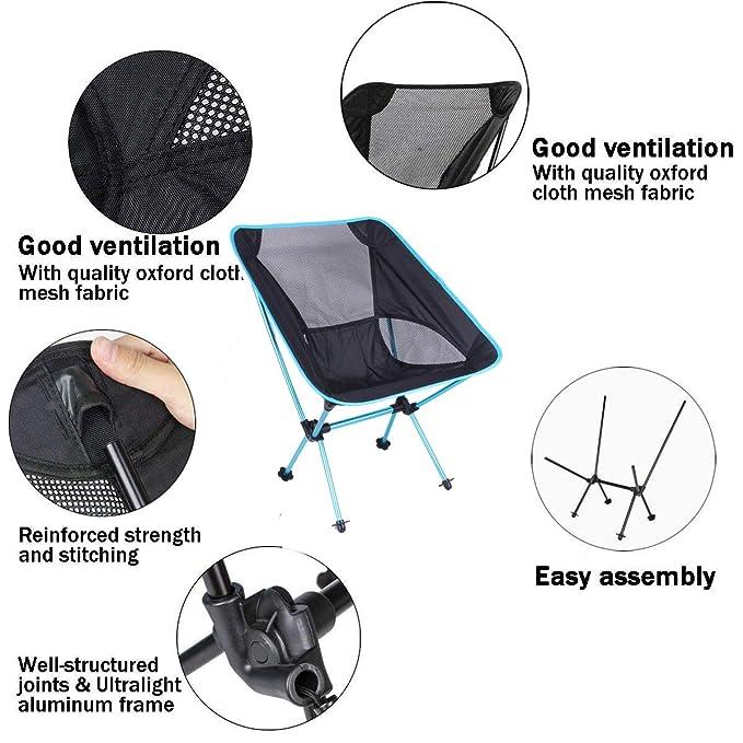 Amazon.com: Sillas de acampada AODA plegables, ligeras, de ...