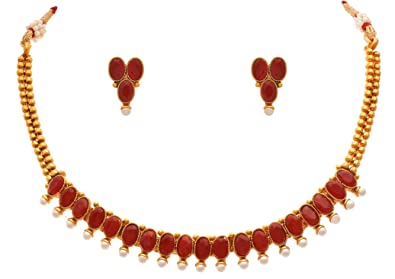 06017d10c4e1f JFL - Traditional Ethnic One Gram Gold Plated Designer Necklace Set with  Earrings for Women & Girls.