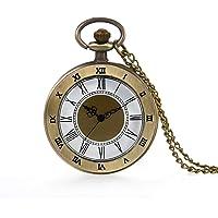 Bronze Pocket Watch 24 Hour Open Face Quartz Roman Numerals Scale with Chain