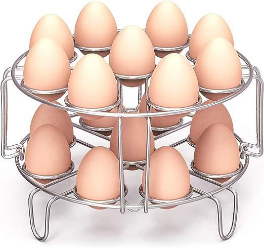 Egg Steamer Rack, Packism Steaming Rack Fit 6,8Qt Instant Pot Accessories Air Fryer Ninja Foodi, Cook 18 Eggs, Stainless Steel Kitchen Trivet ...