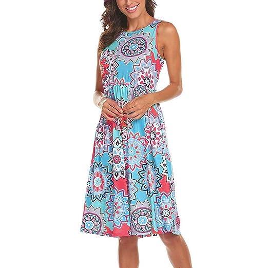 051f8b53578b2 Amazon.com: Leewos 2018 New! Boho Long Dress, Women Sleeveless Floral High  Elastic Waist Pocket Casual Dresses Party Daydress: Clothing
