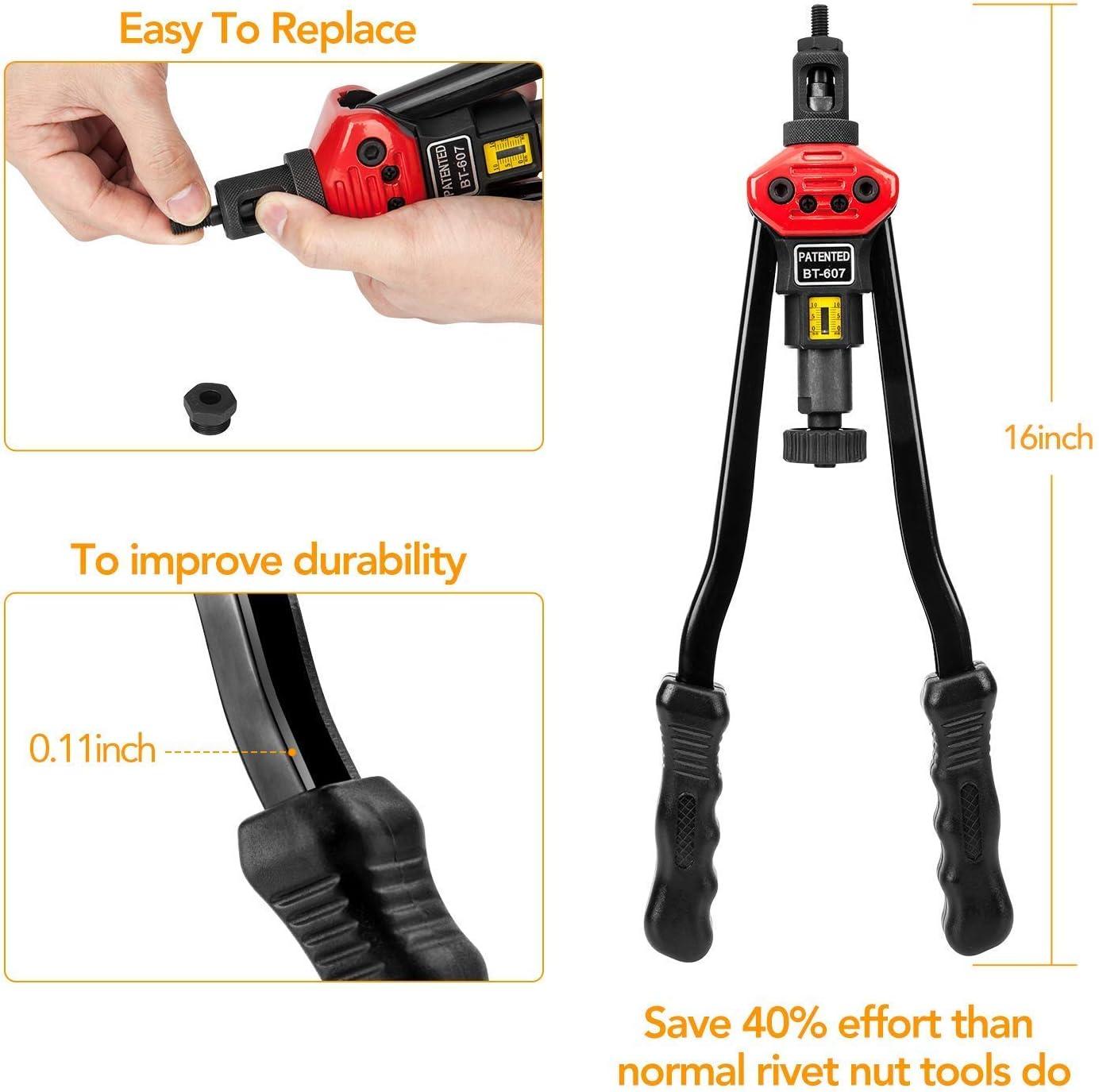 """16/""""Hand Rivet Nut Tool Professional Rivet Nut Setter Kit with 11PCS Metric /& Inch Mandrels,55PCS Rivet Nuts"""
