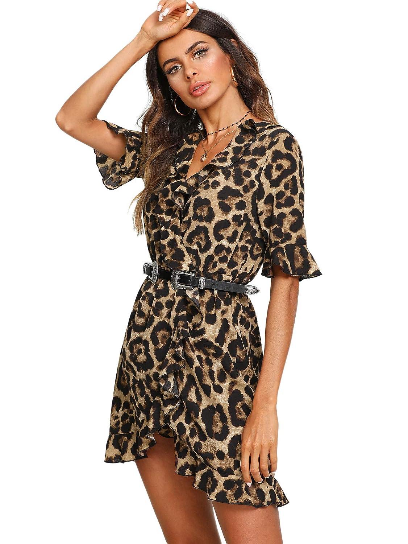 aa8e86ffdfd3 SOLY HUX Mujer Vestidos Sexy Leopardo Mini Corto de Manga Corta con V  Cuello para Fiesta