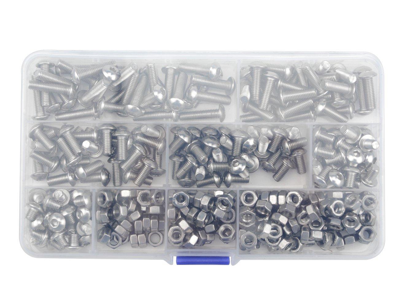 WGCD 360 PCS M5 Stainless Steel Hex Socket Button Head Cap Bolts Screws Nuts Assortment Kit M5