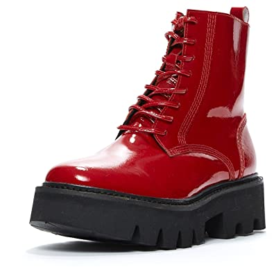 brand new e7b35 a23e1 Jeffrey Campbell Agira red Box Leather, Combat Boot, 10 ...