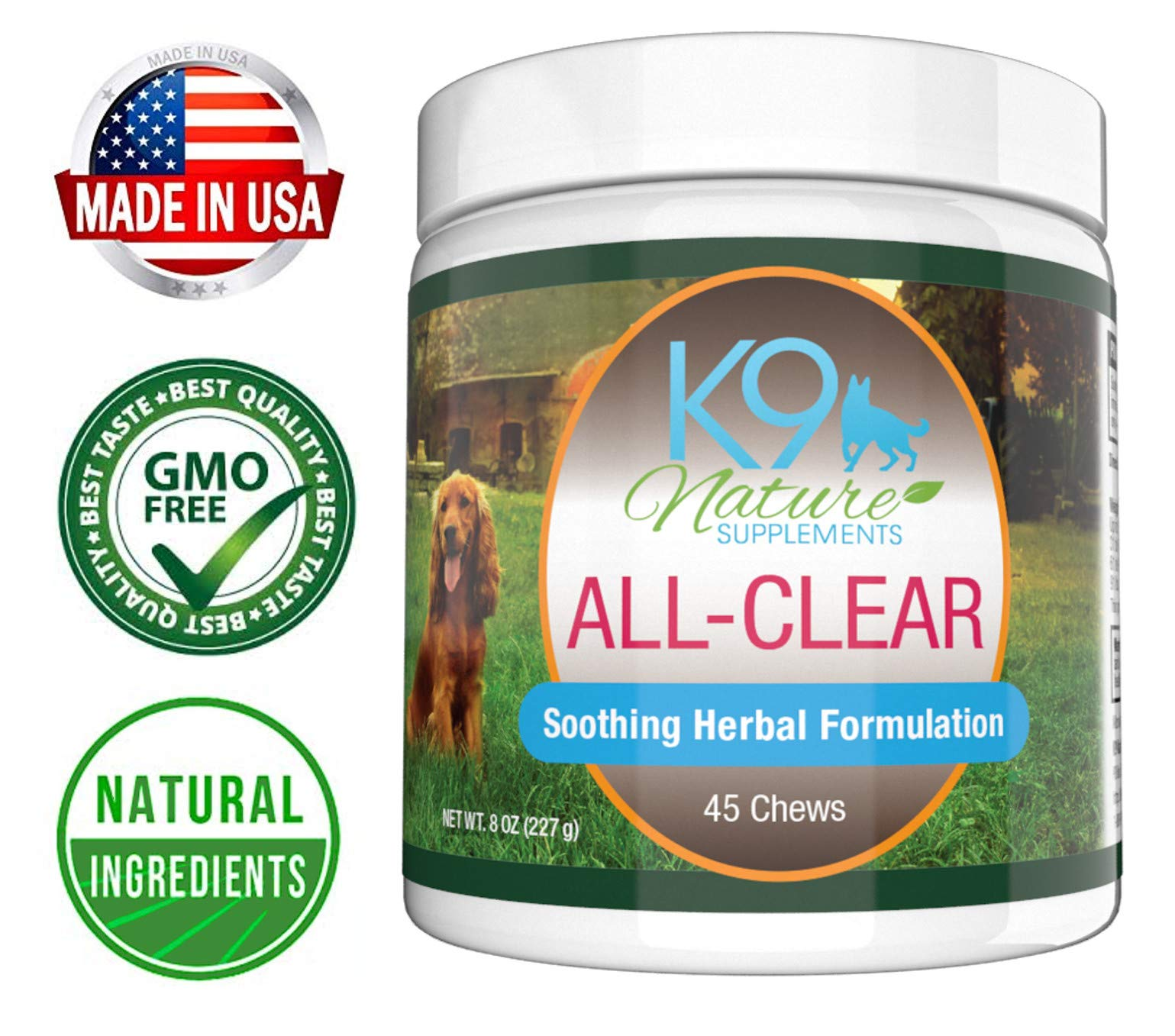 Dog Allergy Supplement All-Clear Herbal Anti Itch Treats Provide Natural Relief from Seasonal Allergies Reducing Constant Scratching & Other Symptoms in Dogs 45 Tasty Soft Chews by K9 Nature Supplements