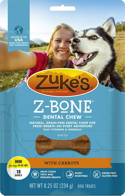 Zuke's Z-Bones Edible Dental Chews Mini, Carrot Crisp, 18 Count, 4 Pack by Zuke's