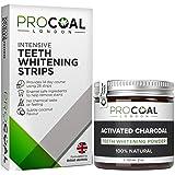 Charcoal Teeth Whitening Powder & Teeth Whitening Strips MultipackJby PROCOAL - 100% Natural Teeth Whitener Kit, Fluoride-Free Charcoal Teeth Whitening Toothpaste (Multi Pack)