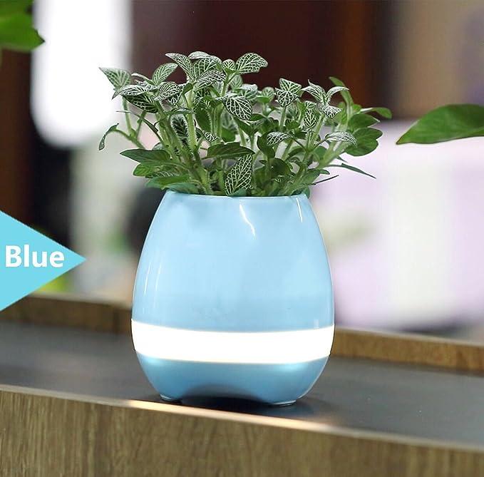 Music Pot de Flores, Smart Touch Bluetooth Altavoces Música Flower Pot Planter Home Office Deco (azul): Amazon.es: Hogar