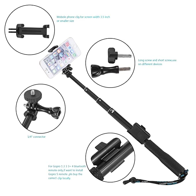2 1 Action Camera FJHJB Generic Extendable Handheld Monopod Tripod Selfie Stick Pole for Gopro Hero 4 3 Blue 2M