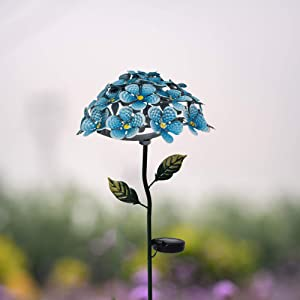 Roaming Light Solar Hydrangea Stakes w/26 Lighted LEDs, Metal Ground Stake Included, 3colors, Wonderful Garden Decoration (Blue)