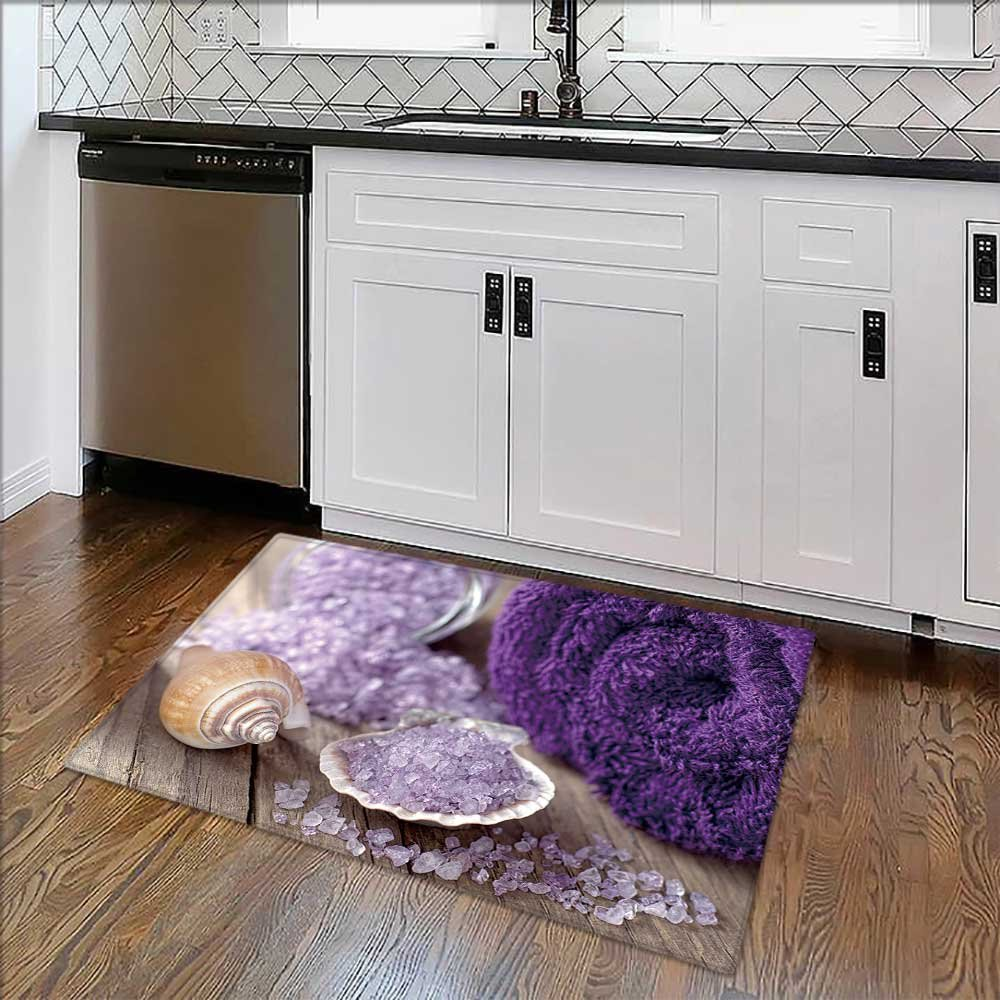 Soft Non Slip Absorbent Bath Rugs Spa still life with bath salt and mussel shell Machine Washable Large Mats Materials W24'' x H18''