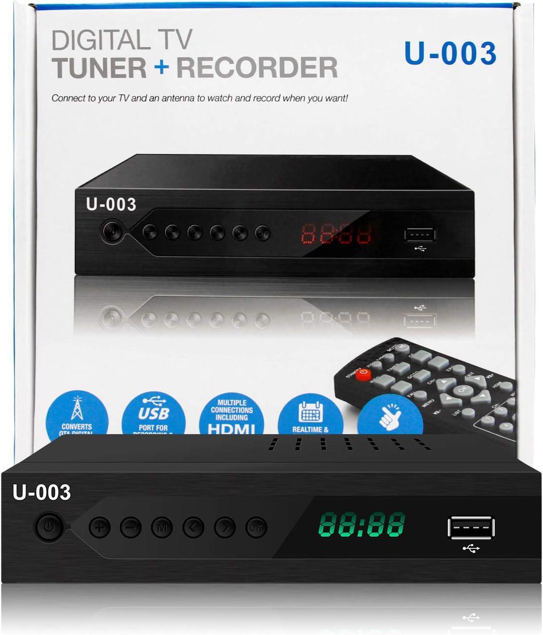 UBISHENG Digital TV Converter Box, 1080P ATSC Converters with PVR Recording&Playback, HDMI Output, Timer Setting LED HDTV Set Top Box