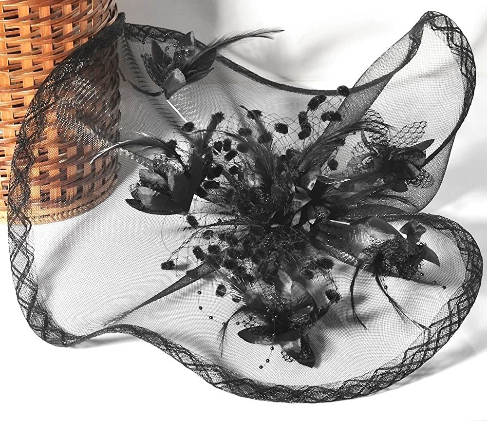 Queenestar Large Women Mesh Hair Clip Feather Flower Hat Party Fascinator Hair Accessories