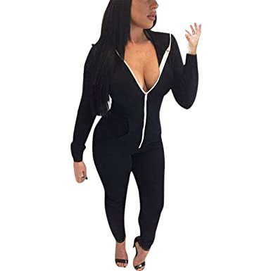 2d2d93268796 BYEEE Women s Sport Bodysuit Long Sleeve Zipper Hooded Jumpsuits Playsuit  Romper Trousers(Black