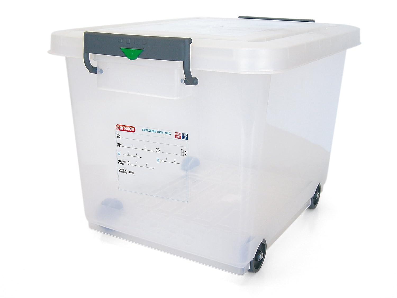 araven 91183 Food Box with Lid, BPA Free, Wheels Attached, 63.4 Quart, Transparent